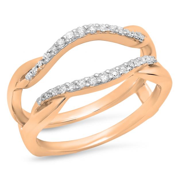 0.20 Carat (Ctw) 18K Rose Gold Round Cut Diamond Ladies Anniversary Wedding Band Enhancer Guard Double Chevron Ring 1/2 CT