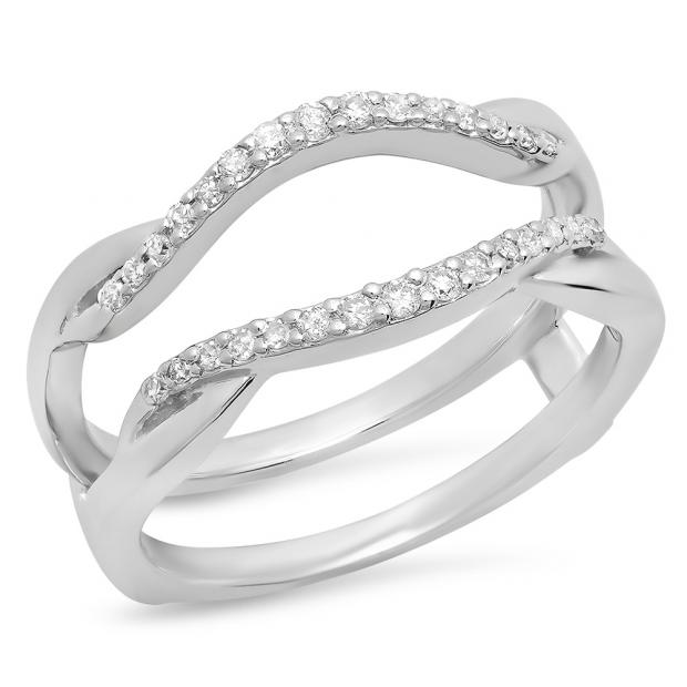 0.20 Carat (Ctw) 18K White Gold Round Cut Diamond Ladies Anniversary Wedding Band Enhancer Guard Double Chevron Ring 1/2 CT