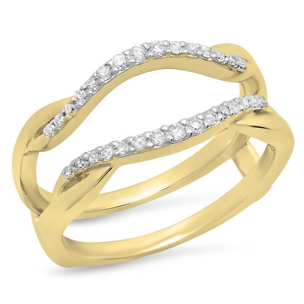 0.20 Carat (Ctw) 18K Yellow Gold Round Cut Diamond Ladies Anniversary Wedding Band Enhancer Guard Double Chevron Ring 1/2 CT