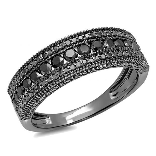 1.25 Carat (Ctw) Black Rhodium Plated 18K White Gold Round Cut Black Diamond Men