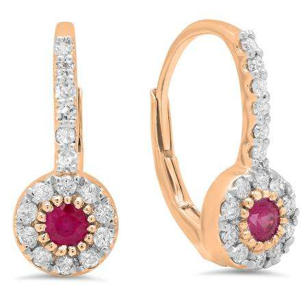 0.55 Carat (Ctw) 18K Rose Gold Round Cut Ruby & White Diamond Ladies Cluster Halo Style Dangling Drop Earrings