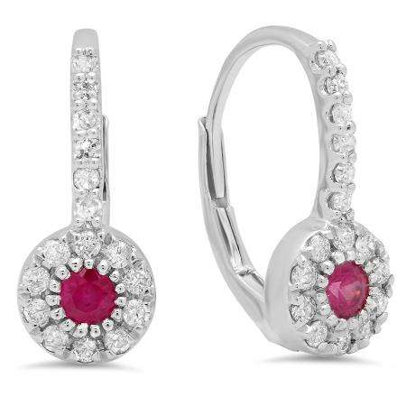 0.55 Carat (Ctw) 18K White Gold Round Cut Ruby & White Diamond Ladies Cluster Halo Style Dangling Drop Earrings