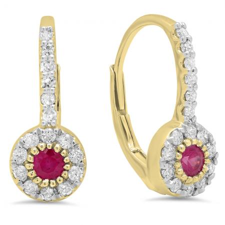 0.55 Carat (Ctw) 18K Yellow Gold Round Cut Ruby & White Diamond Ladies Cluster Halo Style Dangling Drop Earrings