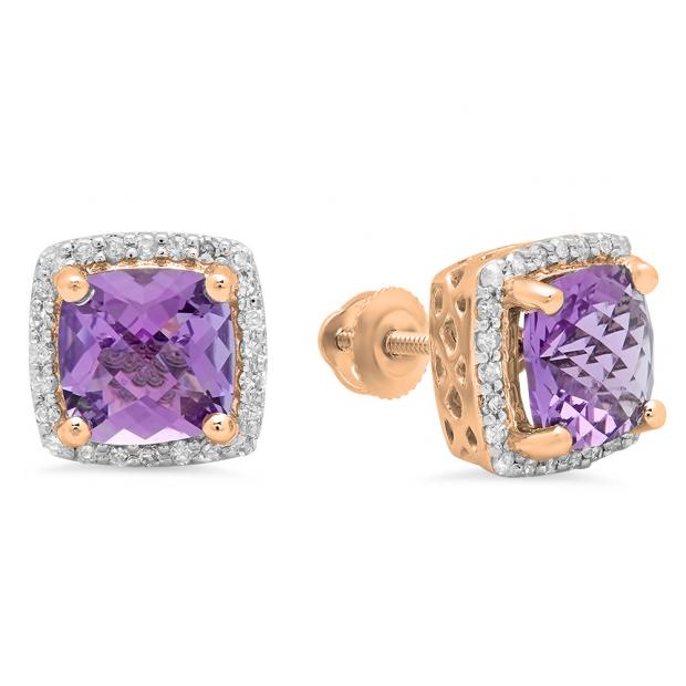 2.80 Carat (ctw) 18K Rose Gold Cushion Cut Amethyst & Round Cut White Diamond Ladies Square Frame Halo Stud Earrings