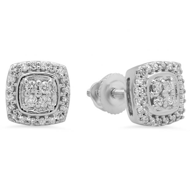 0.25 Carat (Ctw) 10K White Gold Round White Diamond Ladies Stud Earrings 1/4 CT