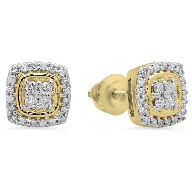 0.25 Carat (Ctw) 10K Yellow Gold Round White Diamond Ladies Stud Earrings 1/4 CT