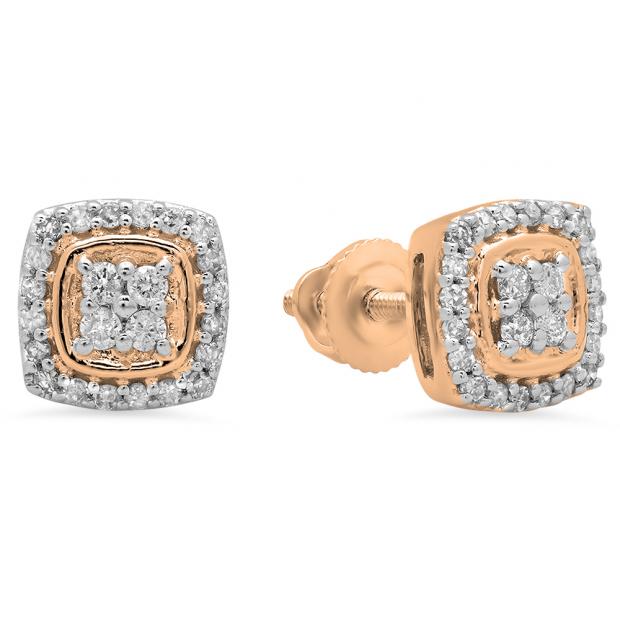 0.25 Carat (Ctw) 14K Rose Gold Round White Diamond Ladies Stud Earrings 1/4 CT