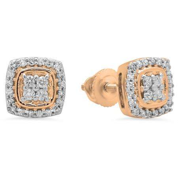 0.25 Carat (Ctw) 18K Rose Gold Round White Diamond Ladies Stud Earrings 1/4 CT