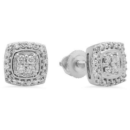 0.25 Carat (Ctw) 18K White Gold Round White Diamond Ladies Stud Earrings 1/4 CT