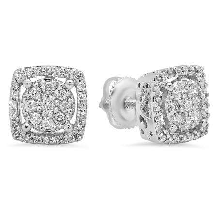 0.50 Carat (Ctw) 14K White Gold Real Round Cut White Diamond Ladies Cluster Stud Earrings 1/2 CT