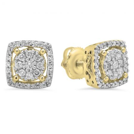 0.50 Carat (Ctw) 14K Yellow Gold Real Round Cut White Diamond Ladies Cluster Stud Earrings 1/2 CT