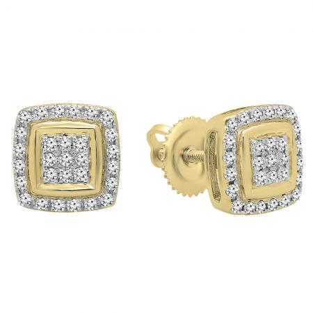 0.25 Carat (Ctw) 10K Yellow Gold Real Round Cut White Diamond Ladies Stud Earrings 1/4 CT