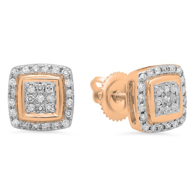 0.25 Carat (Ctw) 14K Rose Gold Real Round Cut White Diamond Ladies Stud Earrings 1/4 CT