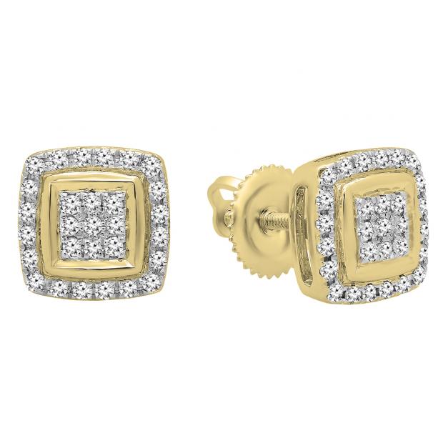 0.25 Carat (Ctw) 14K Yellow Gold Real Round Cut White Diamond Ladies Stud Earrings 1/4 CT