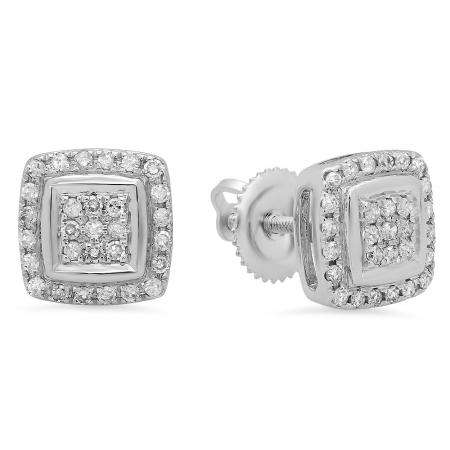 0.25 Carat (Ctw) 18K White Gold Real Round Cut White Diamond Ladies Stud Earrings 1/4 CT