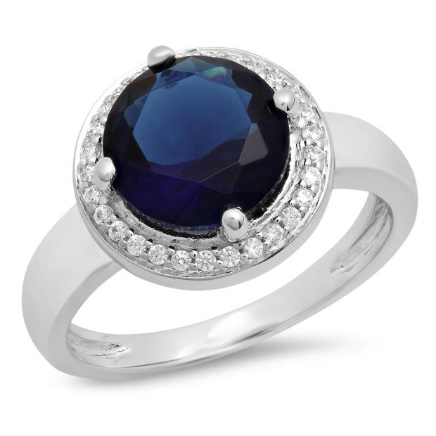 2.40 Carat (Ctw) 18K White Gold Round Blue & White Cubic Zirconia CZ Ladies Halo Style Wedding Bridal Engagement Ring