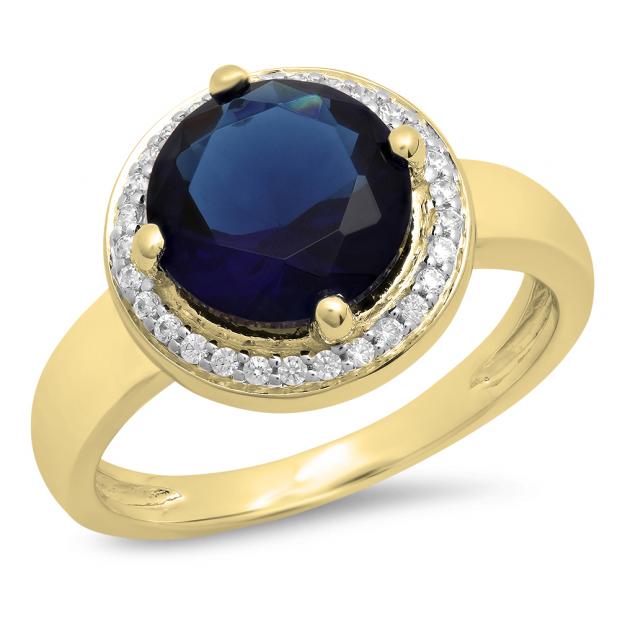 2.40 Carat (Ctw) 18K Yellow Gold Round Blue & White Cubic Zirconia CZ Ladies Halo Style Wedding Bridal Engagement Ring