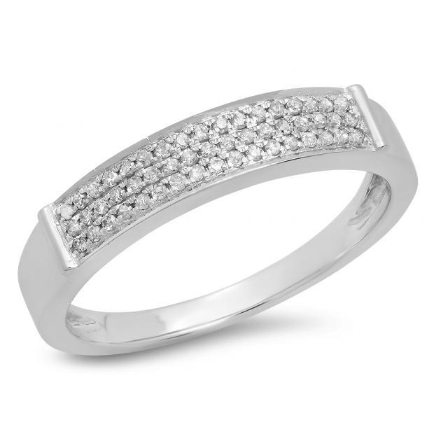 0.15 Carat (Ctw) 18K White Gold Round Cut Diamond Ladies Anniversary Wedding Band