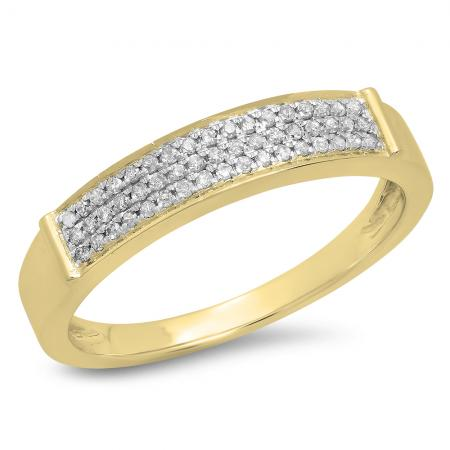 0.15 Carat (Ctw) 18K Yellow Gold Round Cut Diamond Ladies Anniversary Wedding Band