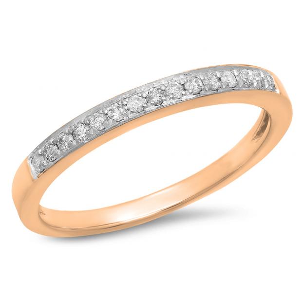 0.15 Carat (Ctw) 10k Rose Gold Round White Diamond Ladies Anniversary Wedding Band Stackable Ring