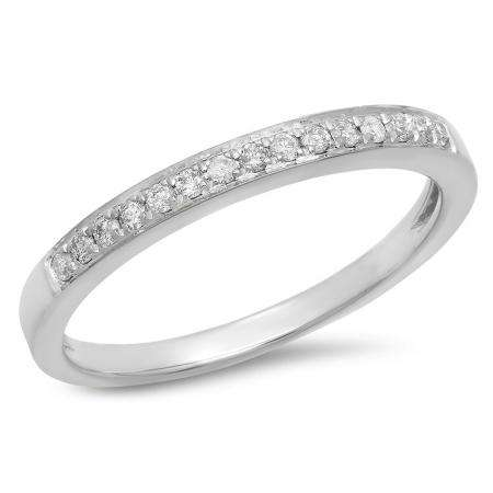 0.15 Carat (Ctw) 10k White Gold Round White Diamond Ladies Anniversary Wedding Band Stackable Ring