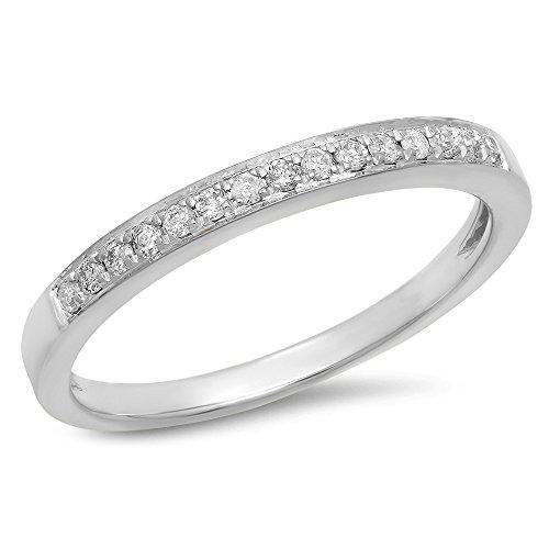 0.15 Carat (Ctw) 14k White Gold Round White Diamond Ladies Anniversary Wedding Band Stackable Ring