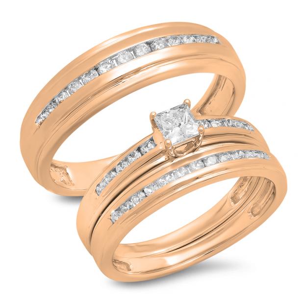 0.85 Carat (Ctw) 10K Rose Gold Princess & Round Cut White Diamond Men & Women