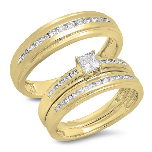 0.85 Carat (Ctw) 14K Yellow Gold Princess & Round Cut White Diamond Men & Women