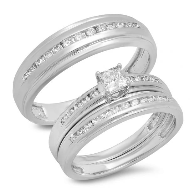 0.85 Carat (Ctw) 18K White Gold Princess & Round Cut White Diamond Men & Women