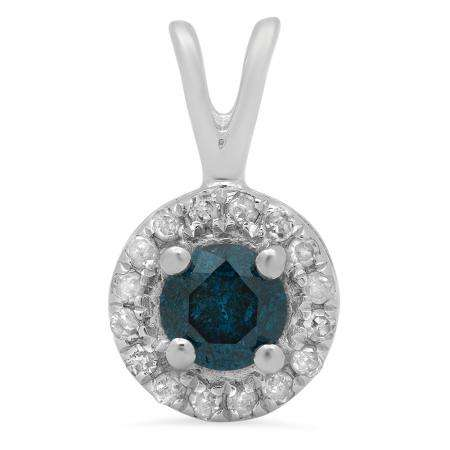 0.30 Carat (Ctw) Sterling Silver Round Blue And White Diamond Ladies Halo Style Pendant