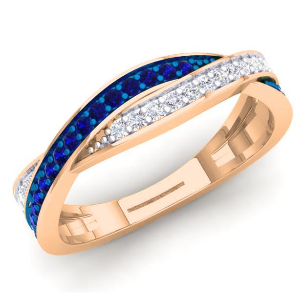 0.35 Carat (Ctw) 10K Rose Gold Round Blue Sapphire & White Diamond Ladies Anniversary Wedding Band Swirl Stackable Ring