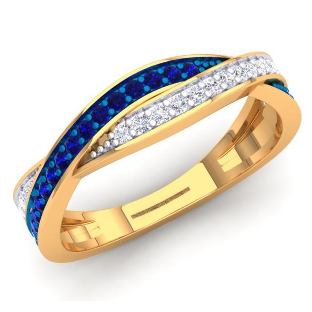 0.35 Carat (Ctw) 10K Yellow Gold Round Blue Sapphire & White Diamond Ladies Anniversary Wedding Band Swirl Stackable Ring