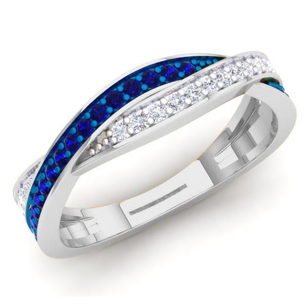 0.35 Carat (Ctw) 14K White Gold Round Blue Sapphire & White Diamond Ladies Anniversary Wedding Band Swirl Stackable Ring