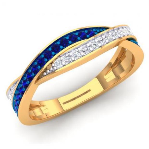 0.50 Carat (Ctw) 14K Yellow Gold Round Blue Sapphire & White Diamond Ladies Anniversary Wedding Band Swirl Stackable Ring