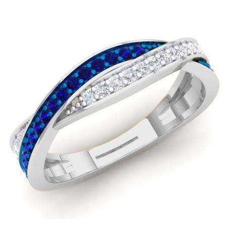 0.35 Carat (Ctw) 18K White Gold Round Blue Sapphire & White Diamond Ladies Anniversary Wedding Band Swirl Stackable Ring