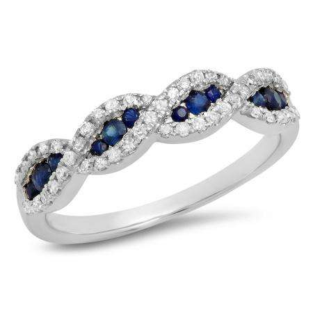 0.35 Carat (Ctw) 10K White Gold Round Blue Sapphire & White Diamond Ladies Bridal Stackable Anniversary Wedding Band Swirl Ring