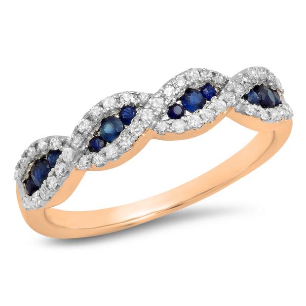 0.35 Carat (Ctw) 18K Rose Gold Round Blue Sapphire & White Diamond Ladies Bridal Stackable Anniversary Wedding Band Swirl Ring
