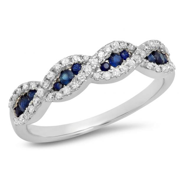 0.35 Carat (Ctw) 18K White Gold Round Blue Sapphire & White Diamond Ladies Bridal Stackable Anniversary Wedding Band Swirl Ring