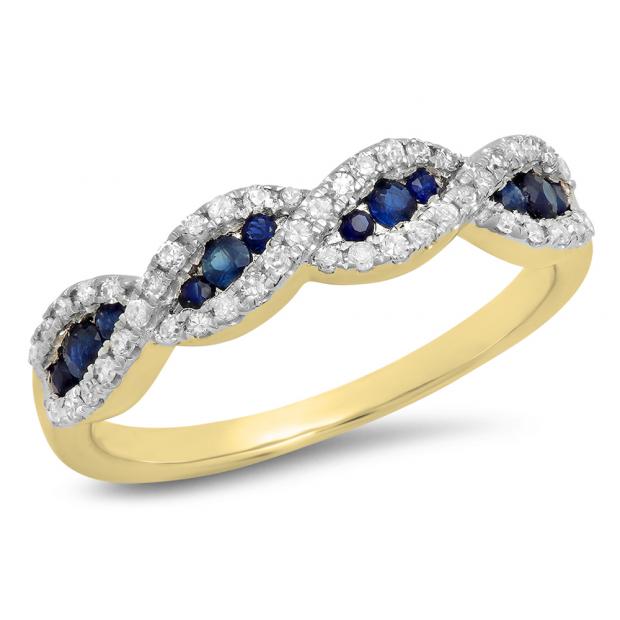 0.35 Carat (Ctw) 18K Yellow Gold Round Blue Sapphire & White Diamond Ladies Bridal Stackable Anniversary Wedding Band Swirl Ring