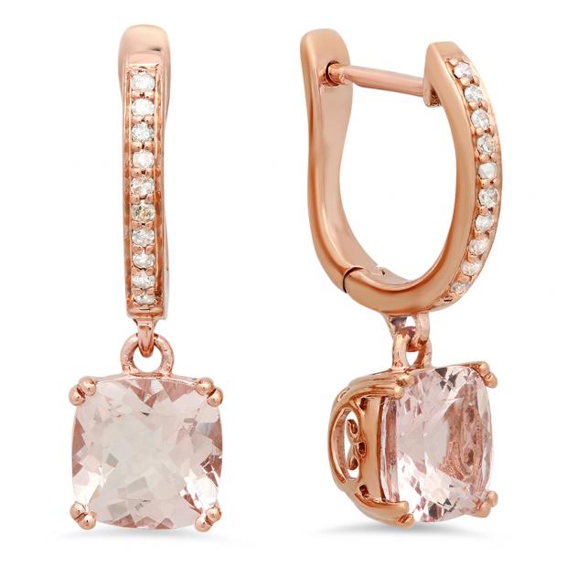 2.55 Carat (Ctw) 18K Rose Gold Cushion Morganite & Round White Diamond Ladies Dangling Drop Earrings