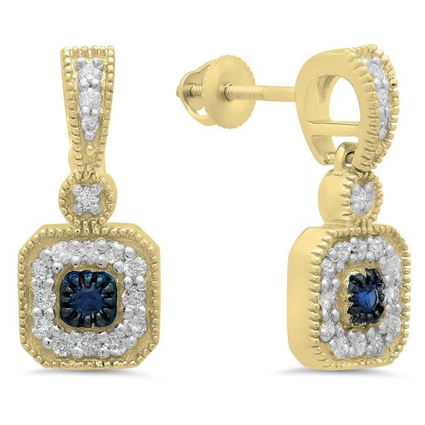 0.60 Carat (ctw) 14K Yellow Gold Round Blue Sapphire & White Diamond Ladies Cluster Flower Dangling Drop Earrings