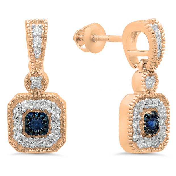 0.60 Carat (ctw) 18K Rose Gold Round Blue Sapphire & White Diamond Ladies Cluster Flower Dangling Drop Earrings