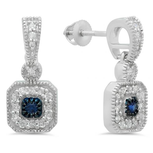 0.60 Carat (ctw) 18K White Gold Round Blue Sapphire & White Diamond Ladies Cluster Flower Dangling Drop Earrings