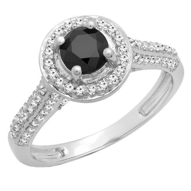 1.00 Carat (ctw) 10K White Gold Round Black & White Diamond Ladies Bridal Halo Style Engagement Ring 1 CT