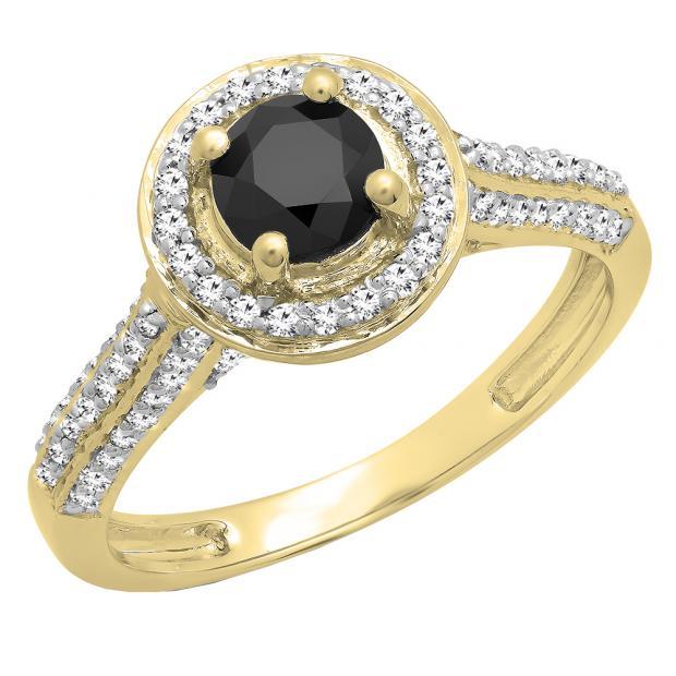 1.00 Carat (ctw) 10k Yellow Gold Round Black & White Diamond Ladies Bridal Halo Style Engagement Ring 1 CT