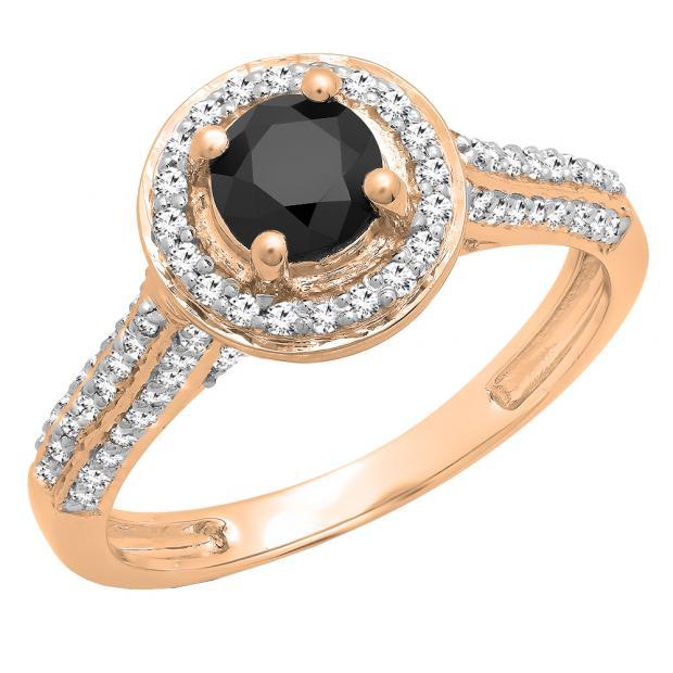 1.00 Carat (ctw) 14k Rose Gold Round Black & White Diamond Ladies Bridal Halo Style Engagement Ring 1 CT
