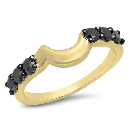 0.60 Carat (ctw) 14K Yellow Gold Round Cut Black Diamond Ladies Anniversary Wedding Band Contour Matching Guard Ring
