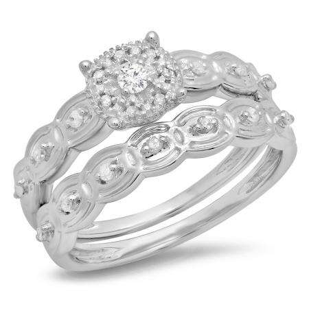 0.20 Carat (ctw) Sterling Silver Round Cut White Diamond Ladies Bridal Cluster Engagement Ring With Matching Band Set
