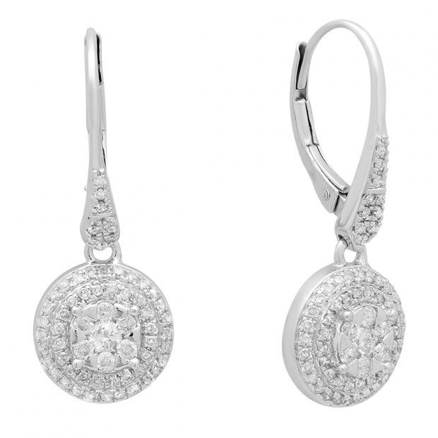 0.70 Carat (ctw) 10K White Gold Round White Diamond Ladies Cluster Flower Shaped Drop Earrings