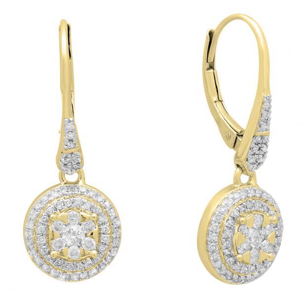 0.70 Carat (ctw) 14K Yellow Gold Round White Diamond Ladies Cluster Flower Shaped Drop Earrings